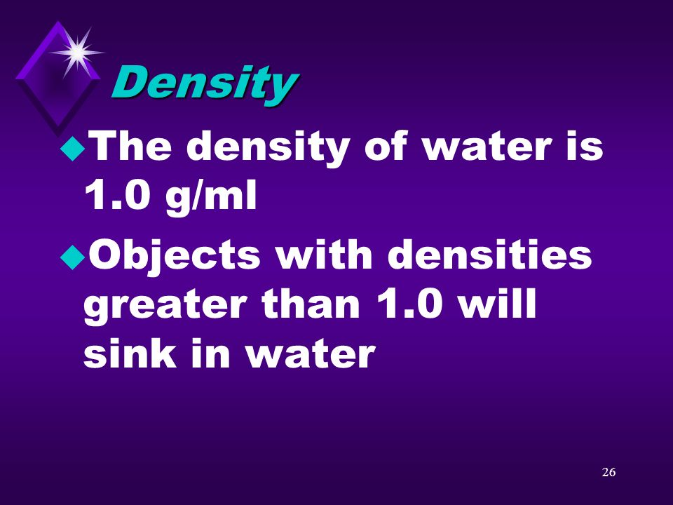 25 Question u What is density and how is it calculated?