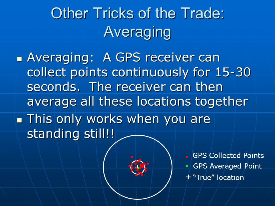 Other Tricks of the Trade: Averaging Averaging: A GPS receiver can collect points continuously for 15-30 seconds. The receiver can then average all th