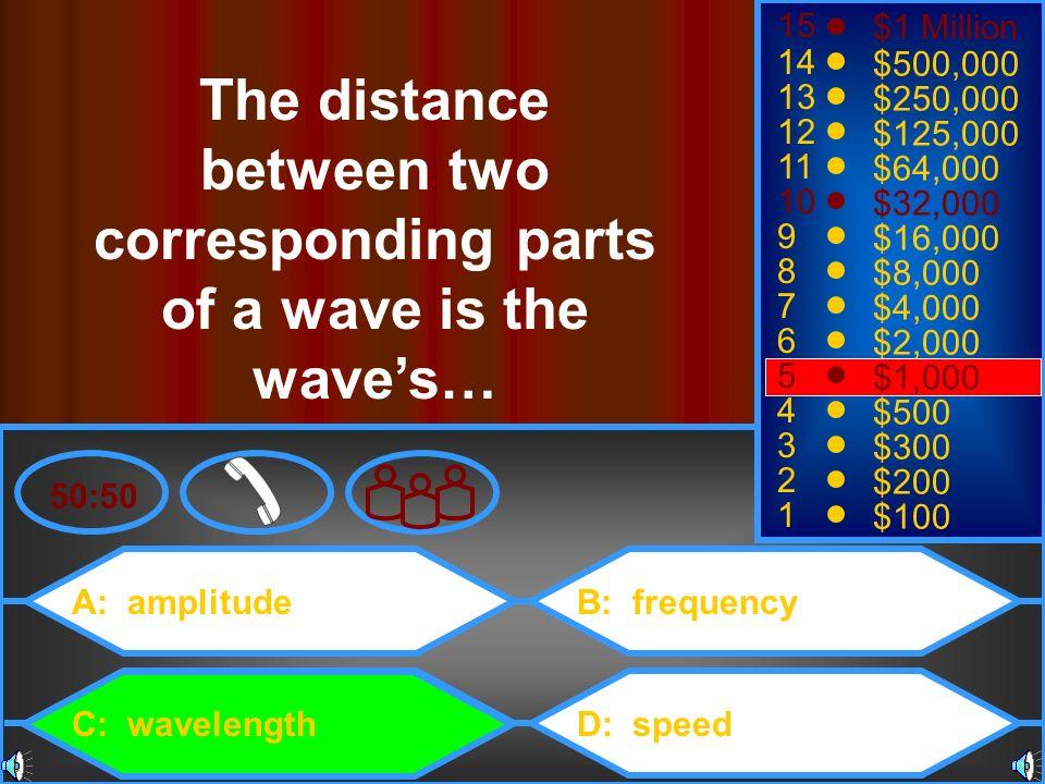 A: amplitude C: wavelength B: frequency D: speed 50:50 15 14 13 12 11 10 9 8 7 6 5 4 3 2 1 $1 Million $500,000 $250,000 $125,000 $64,000 $32,000 $16,0