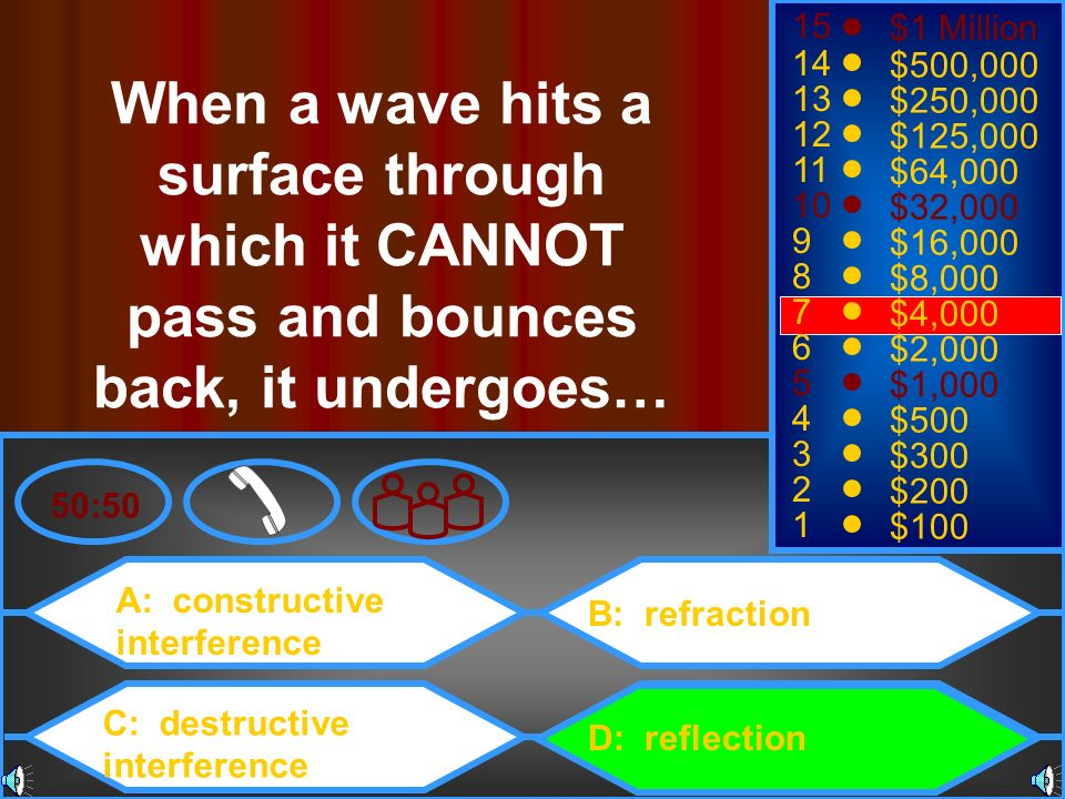 A: constructive interference C: destructive interference B: refraction D: reflection 50:50 15 14 13 12 11 10 9 8 7 6 5 4 3 2 1 $1 Million $500,000 $25