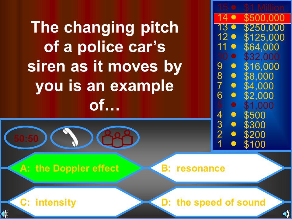 A: the Doppler effect C: intensity B: resonance D: the speed of sound 50:50 15 14 13 12 11 10 9 8 7 6 5 4 3 2 1 $1 Million $500,000 $250,000 $125,000