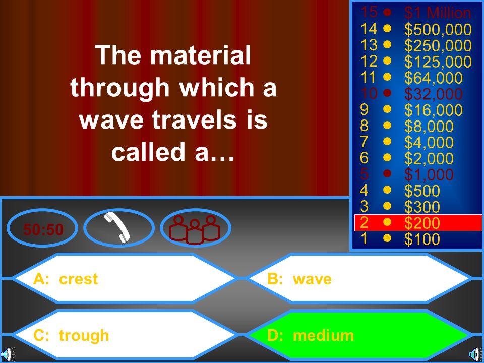A: crest C: trough B: wave D: medium 50:50 15 14 13 12 11 10 9 8 7 6 5 4 3 2 1 $1 Million $500,000 $250,000 $125,000 $64,000 $32,000 $16,000 $8,000 $4