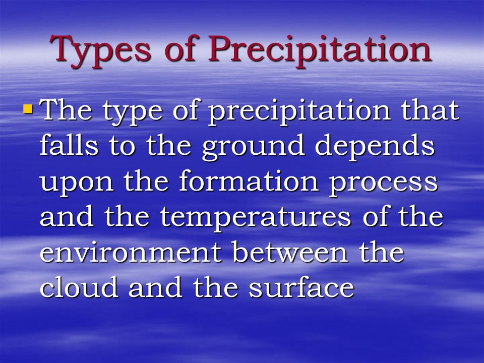 Forms of Precipitation Precipitation (pre-sip-uh- tay-shun) is any form of water that falls to the Earth's surface. Precipitation (pre-sip-uh- tay-shu