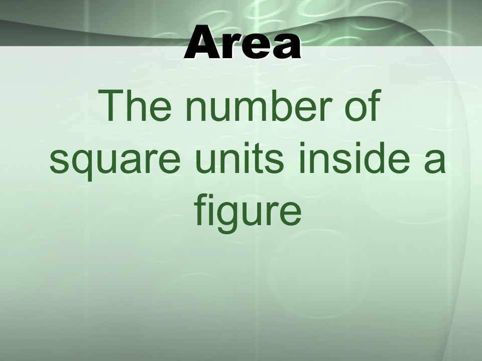 Area The number of square units inside a figure