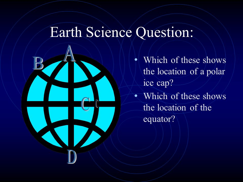 Earth Science Question: Which of these shows the location of a polar ice cap.
