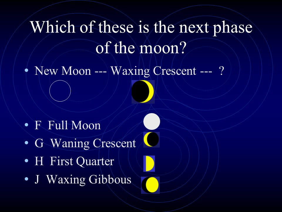 Which of these is the next phase of the moon.New Moon --- Waxing Crescent --- .