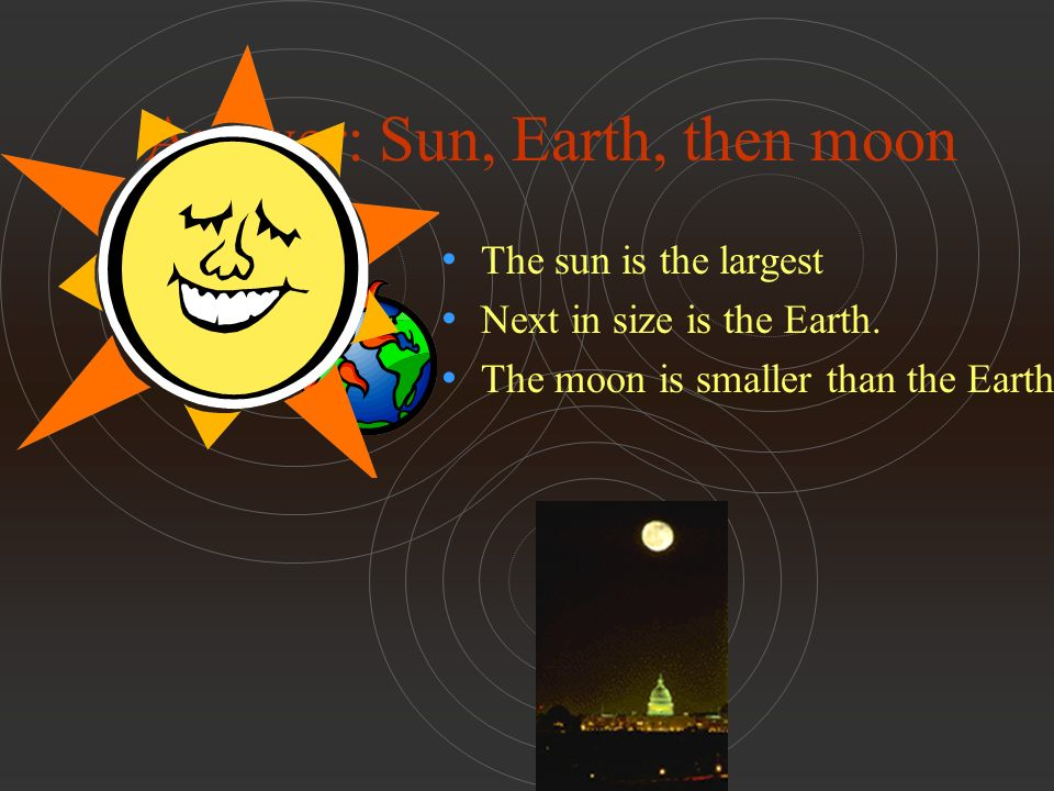 Answer: Sun, Earth, then moon The sun is the largest Next in size is the Earth.
