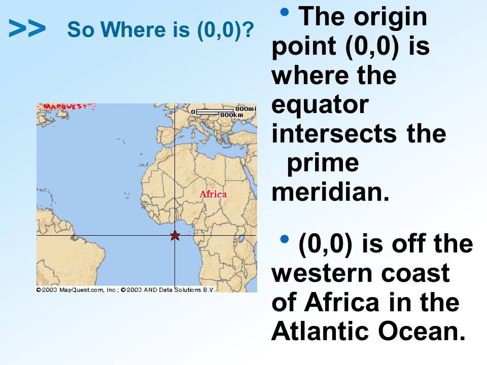So Where is (0,0)? The origin point (0,0) is where the equator intersects the prime meridian. (0,0) is off the western coast of Africa in the Atlantic