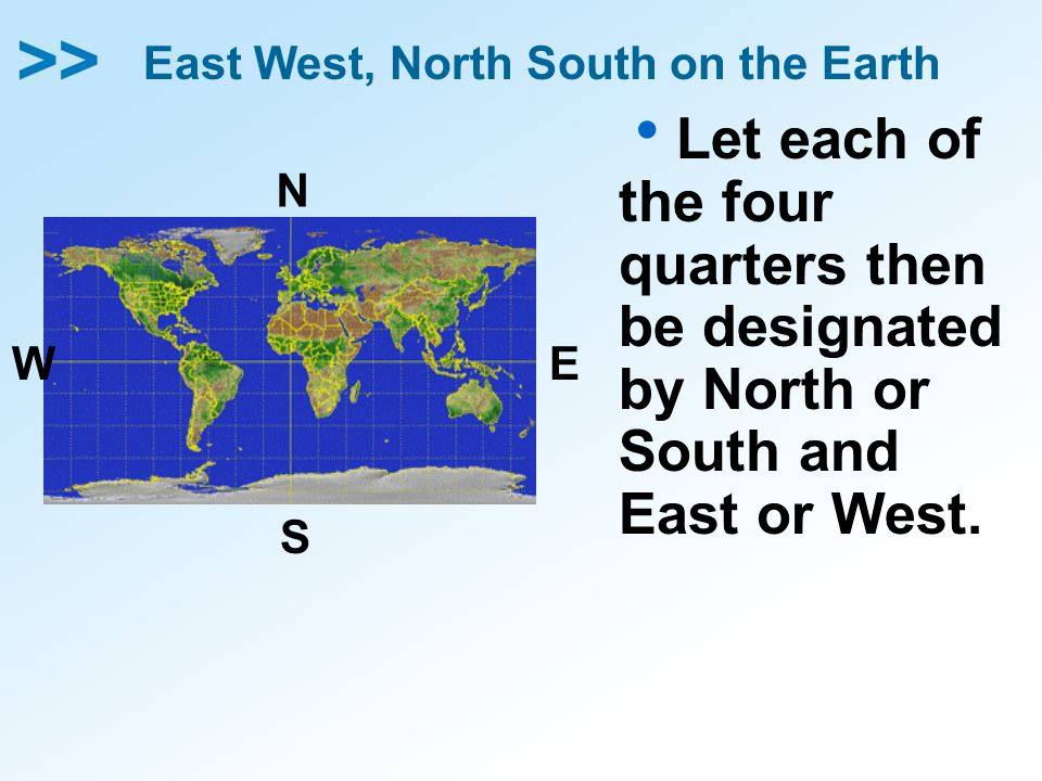 East West, North South on the Earth Let each of the four quarters then be designated by North or South and East or West. N S EW