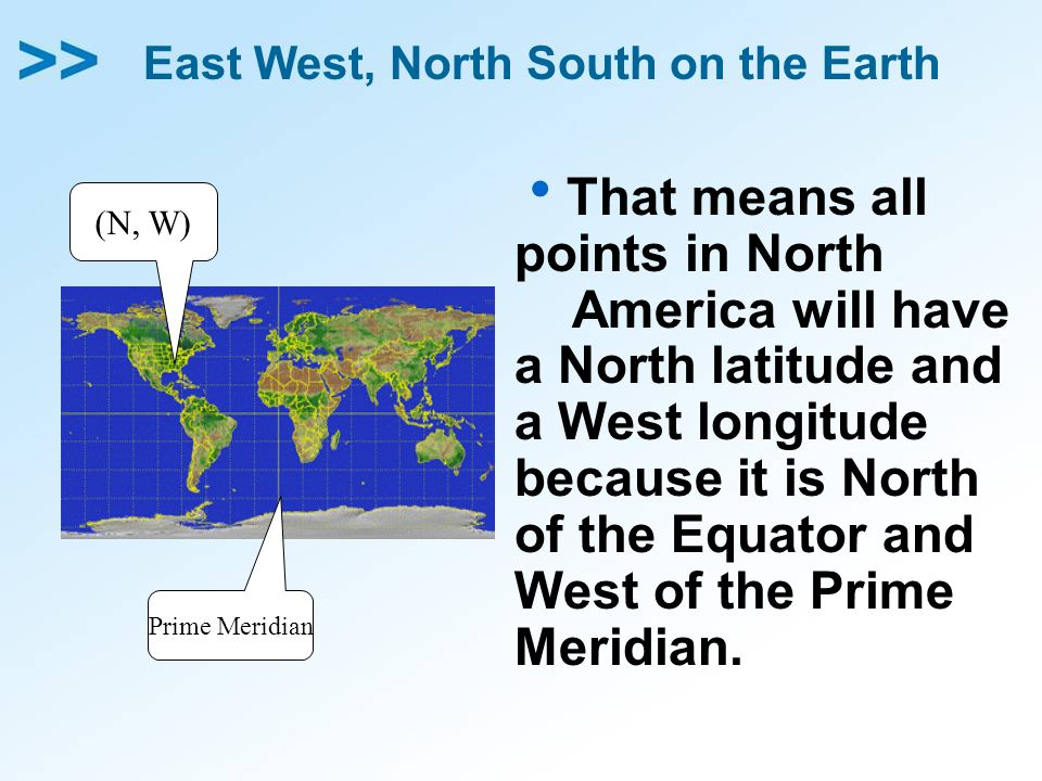 East West, North South on the Earth That means all points in North America will have a North latitude and a West longitude because it is North of the