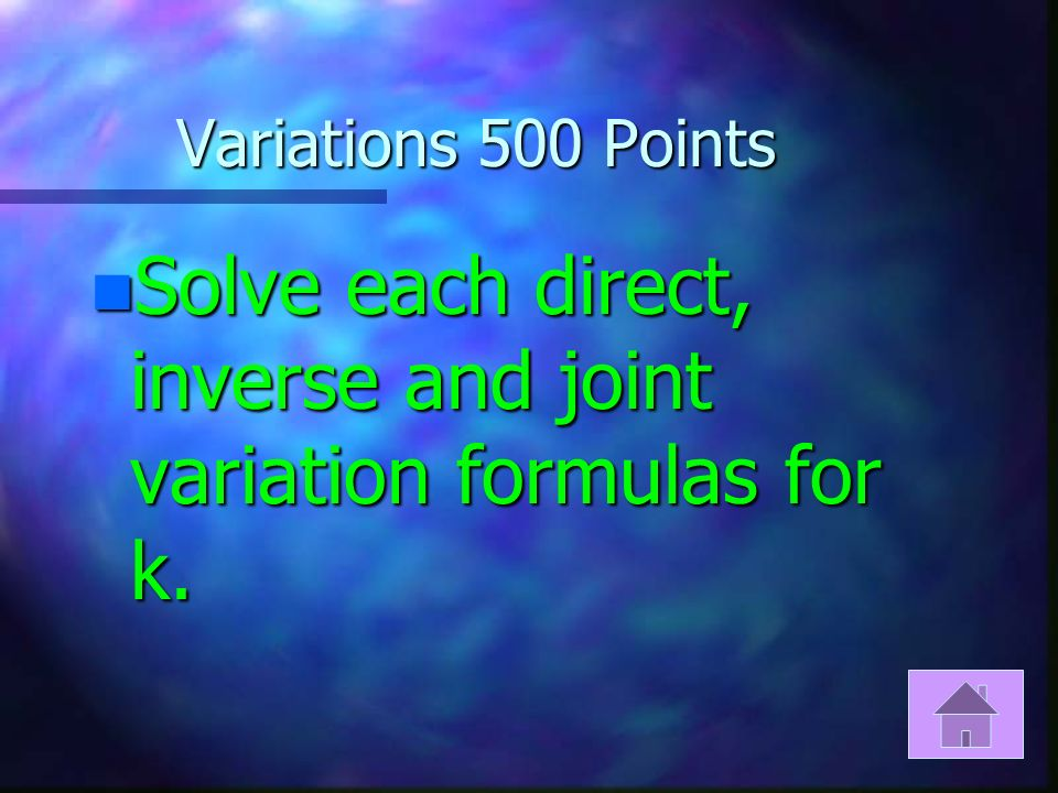 Variations 400 Points n d=2r is what type of variation