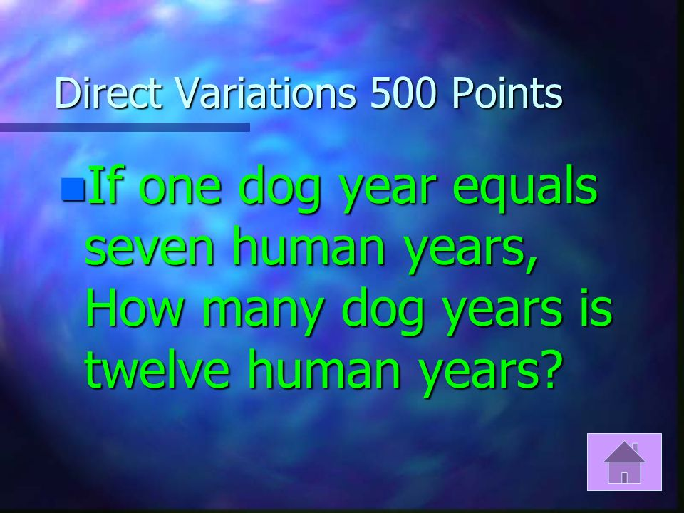 Direct Variations 400 Points n Does the following data represent a direct variation.