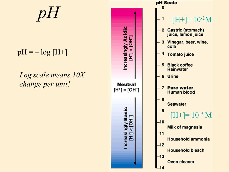 8 pH pH = – log [H+] Log scale means 10X change per unit! [H+]= M [H+]= M