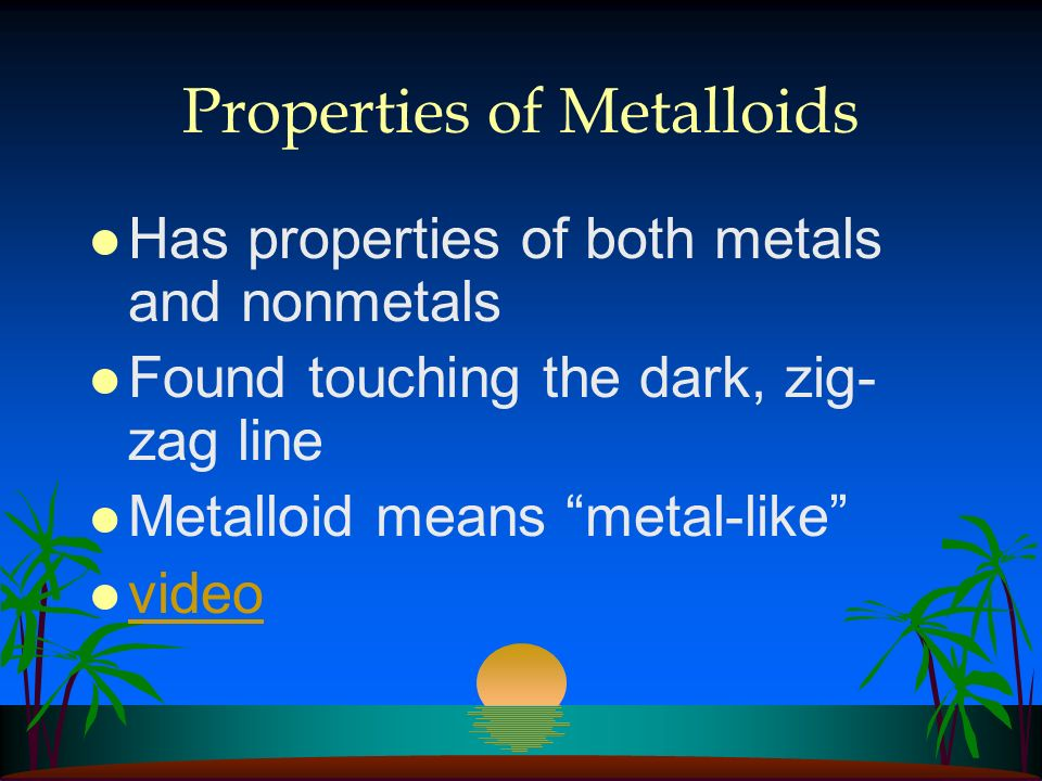 Properties of Nonmetals l Dull l Brittle (hard/ easily broken) l Found on the RIGHT of the periodic table l video video