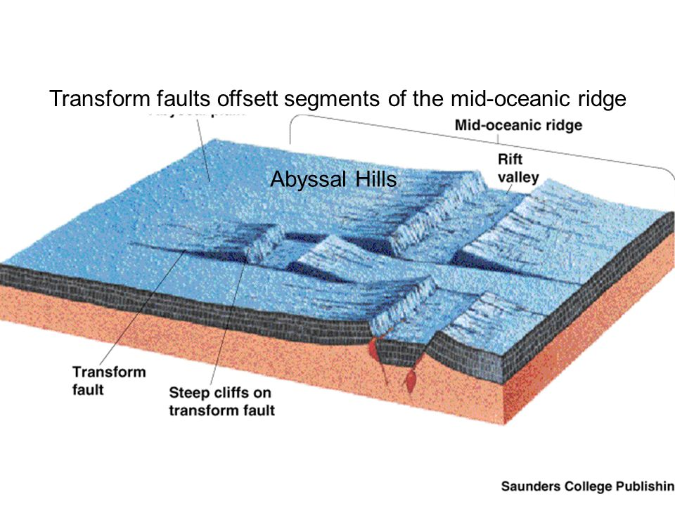 Transform faults offsett segments of the mid-oceanic ridge Abyssal Hills