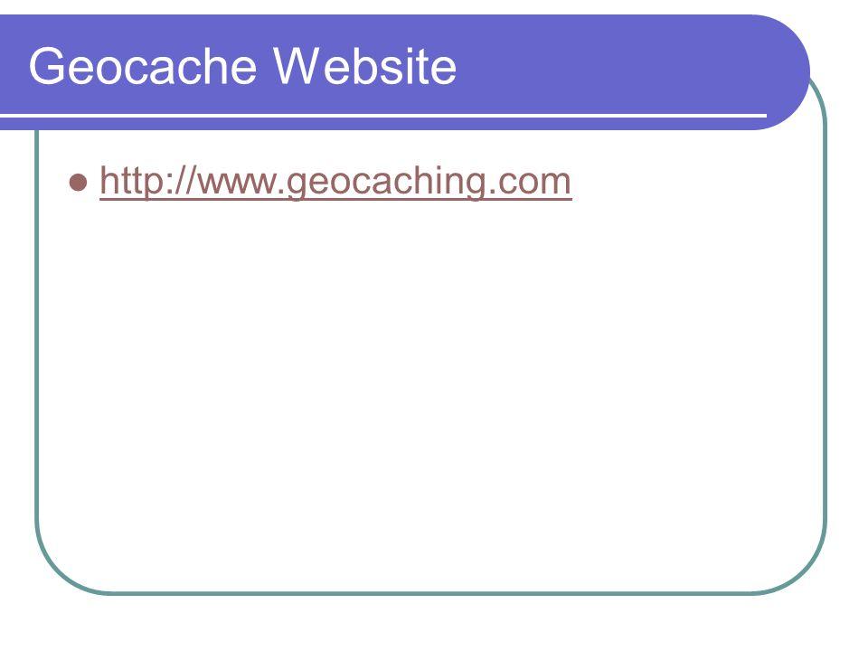 Geocache Website http://www.geocaching.com