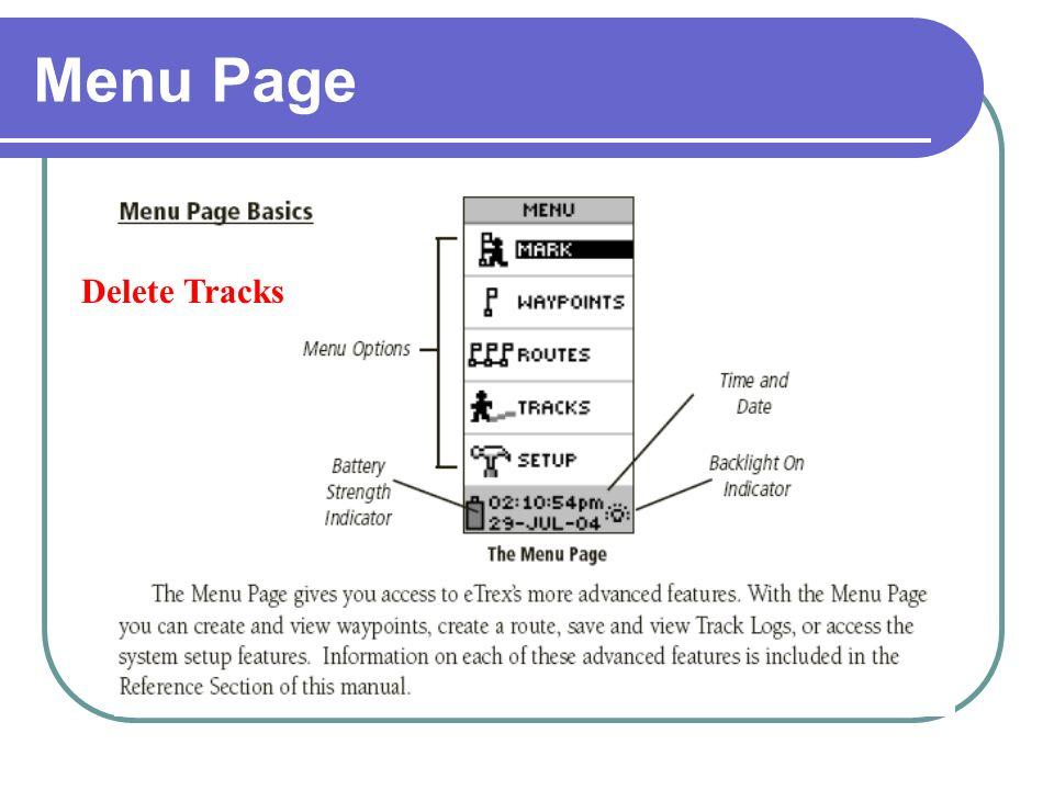 Menu Page Delete Tracks