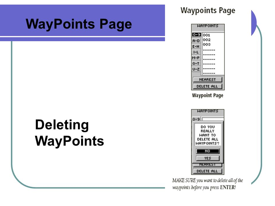 WayPoints Page Deleting WayPoints