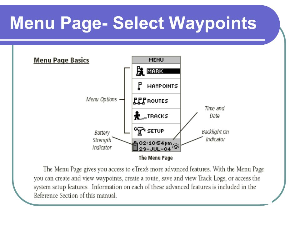 Menu Page- Select Waypoints