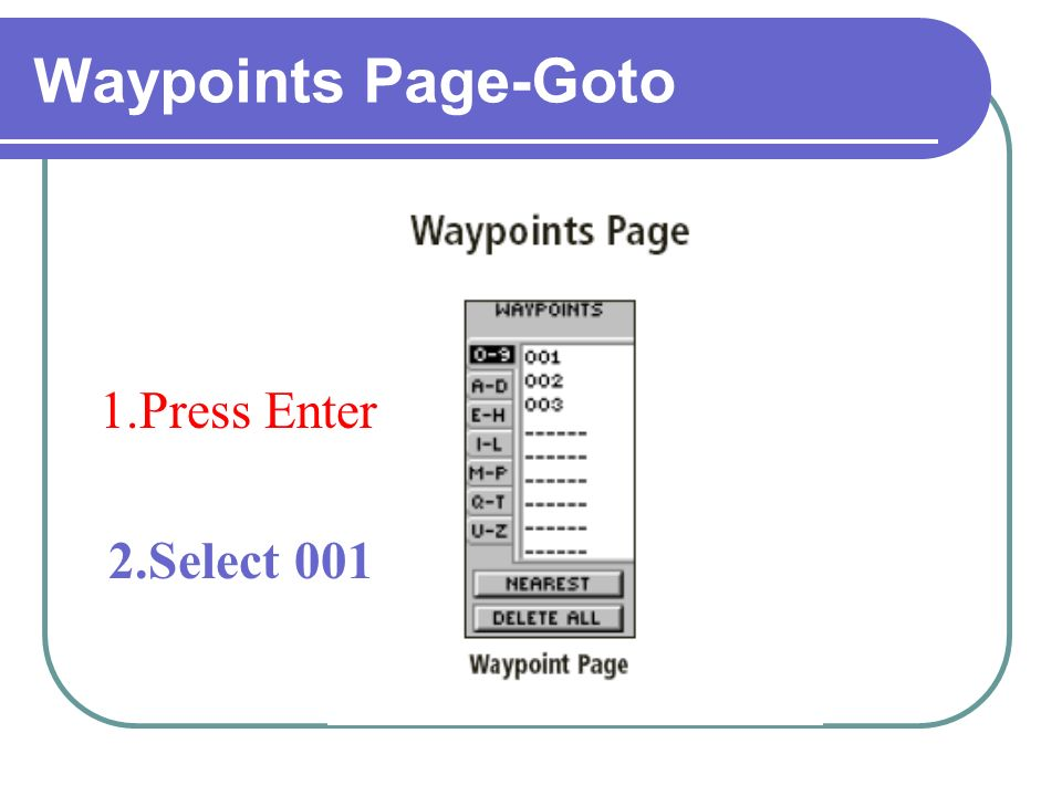 Waypoints Page-Goto 1.Press Enter 2.Select 001