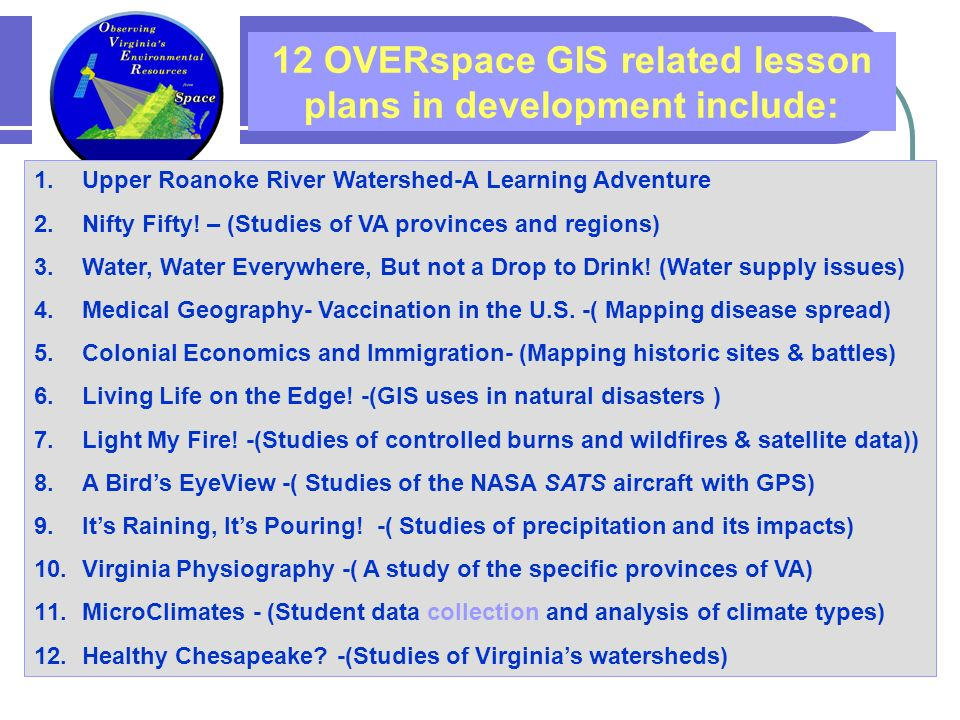 1.Upper Roanoke River Watershed-A Learning Adventure 2.Nifty Fifty.