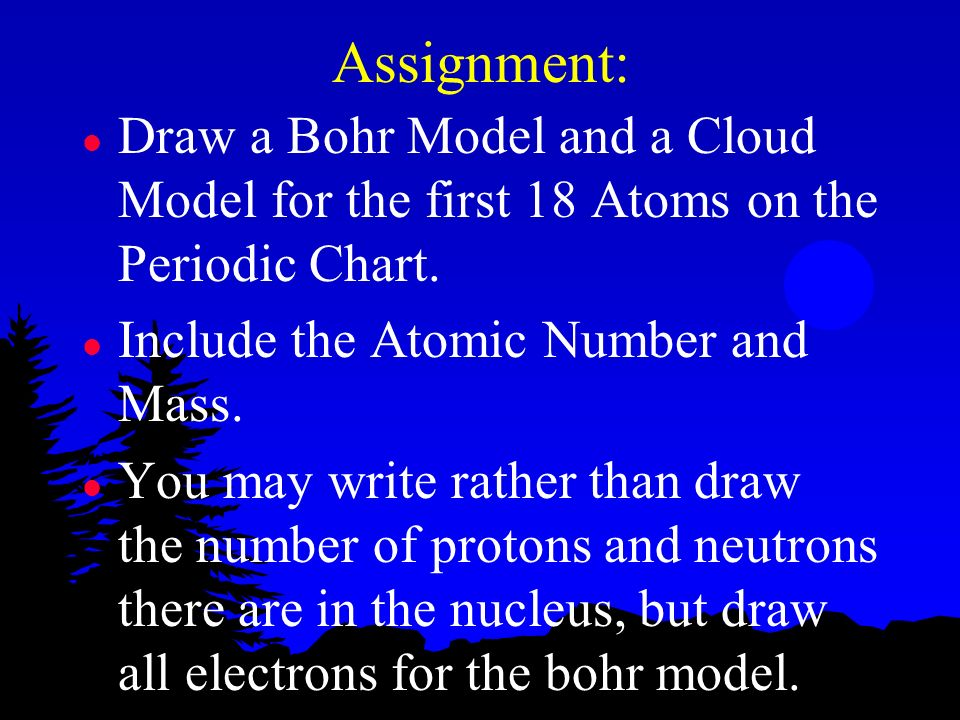 Assignment: l Draw a Bohr Model and a Cloud Model for the first 18 Atoms on the Periodic Chart. l Include the Atomic Number and Mass. l You may write