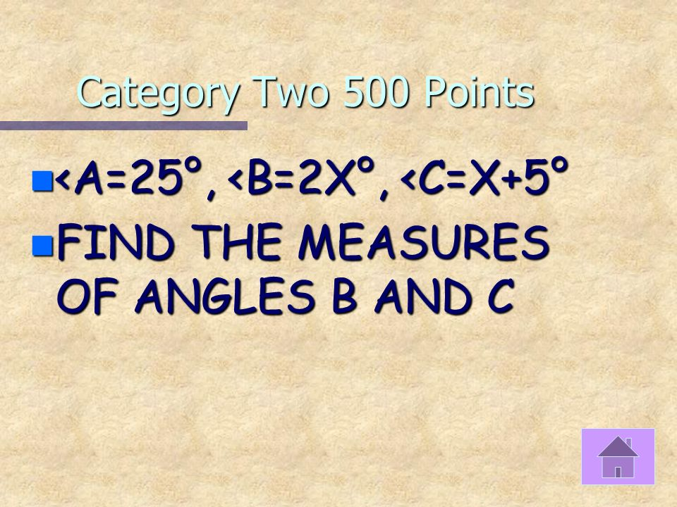 Category Two 400 Points n Solve for x x 80 x