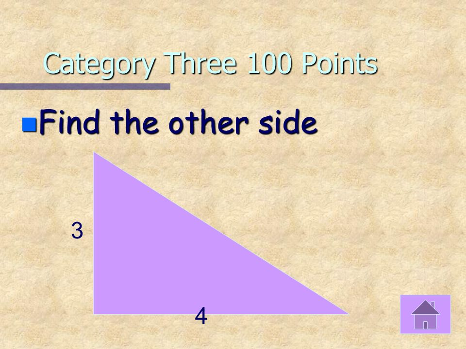 Category Two 500 Points n <A=25°, <B=2X°, <C=X+5° n FIND THE MEASURES OF ANGLES B AND C
