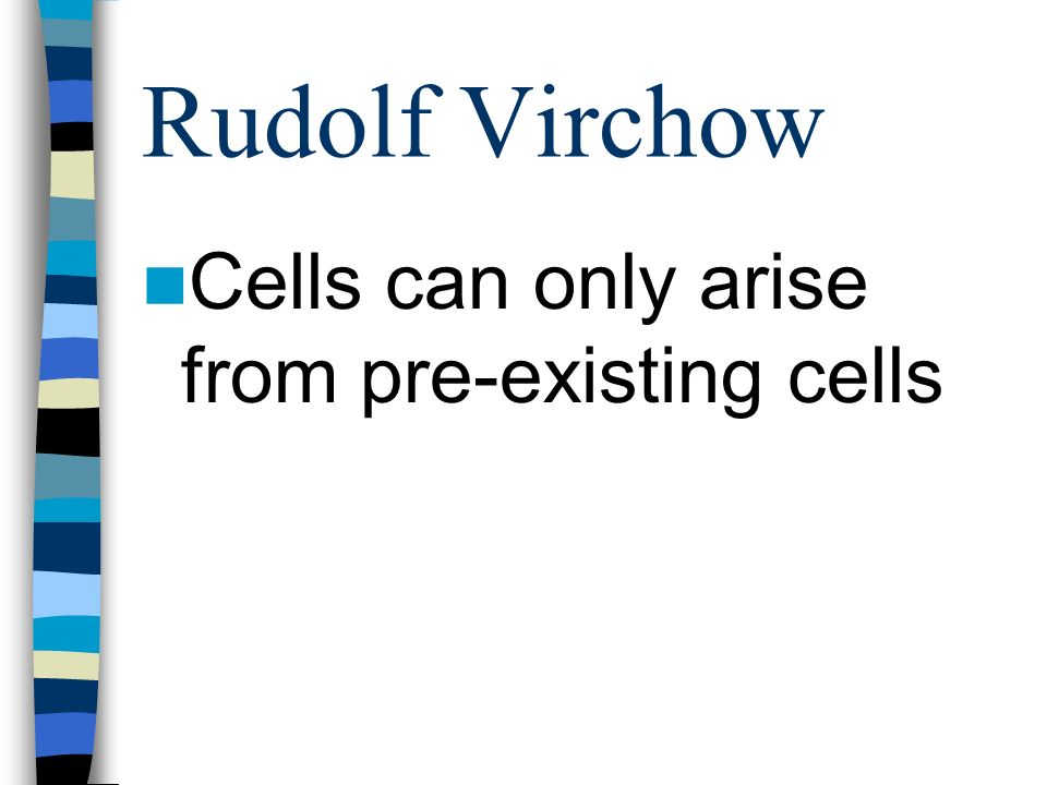 Rudolf Virchow Cells can only arise from pre-existing cells