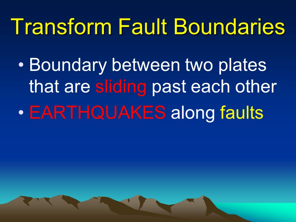 Transform Fault Boundaries Boundary between two plates that are sliding past each other EARTHQUAKES along faults
