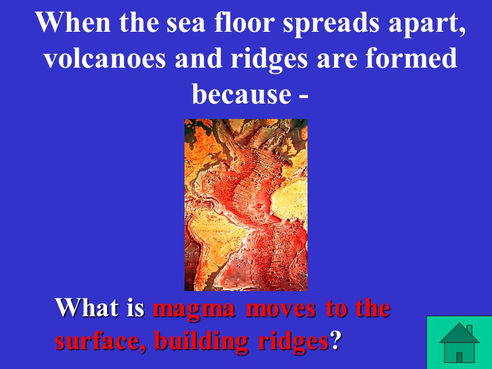 What is magma moves to the surface, building ridges.