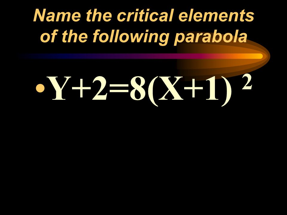 Name the critical elements of the following parabola Y+2=8(X+1) 2
