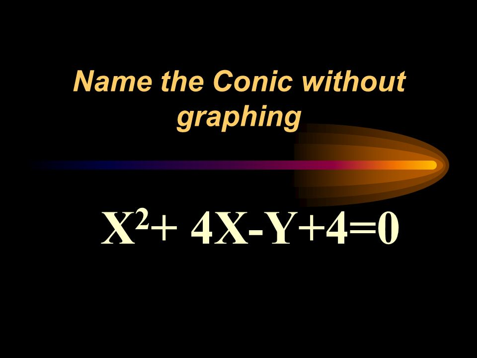 Name the Conic without graphing X 2 + 4X-Y+4=0