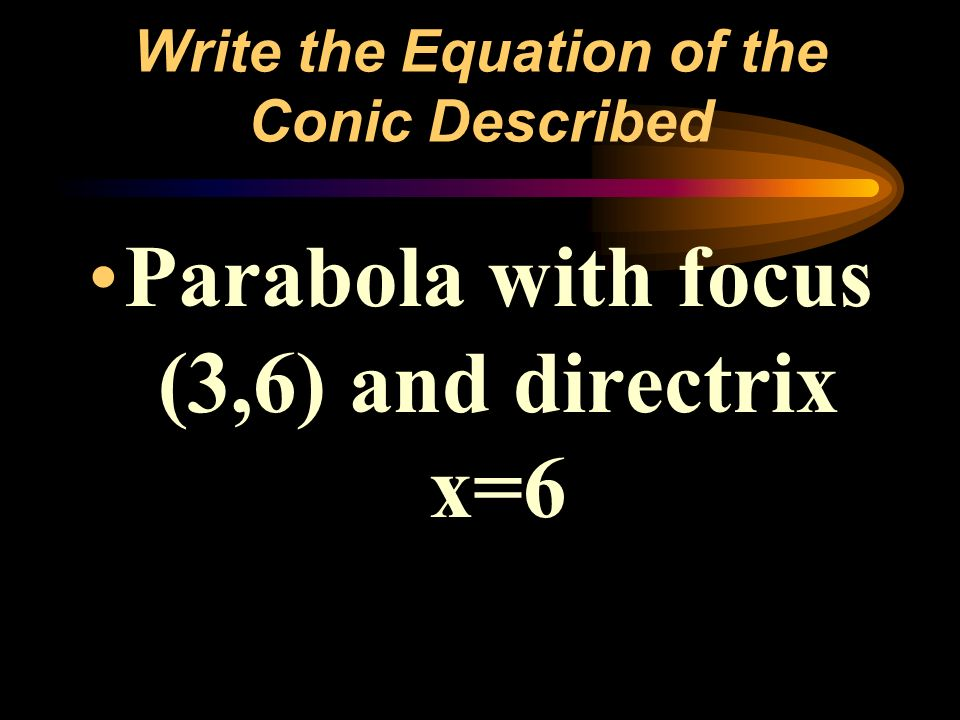 Write the Equation of the Conic Described Parabola with focus (3,6) and directrix x=6