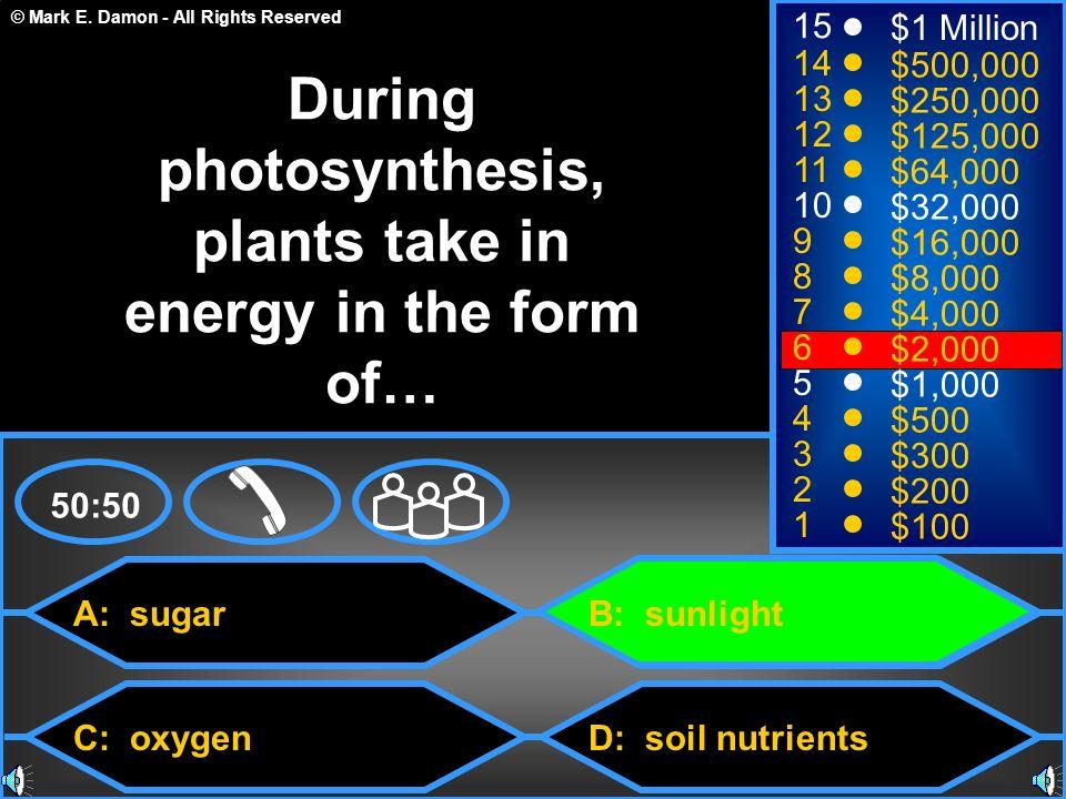 © Mark E. Damon - All Rights Reserved A: sugar C: oxygen B: sunlight D: soil nutrients 50:50 15 14 13 12 11 10 9 8 7 6 5 4 3 2 1 $1 Million $500,000 $