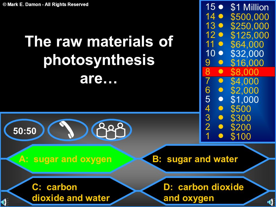 © Mark E. Damon - All Rights Reserved A: sugar and oxygen C: carbon dioxide and water B: sugar and water D: carbon dioxide and oxygen 50:50 15 14 13 1