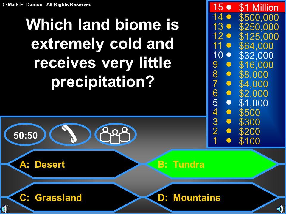 © Mark E. Damon - All Rights Reserved A: Desert C: Grassland B: Tundra D: Mountains 50:50 15 14 13 12 11 10 9 8 7 6 5 4 3 2 1 $1 Million $500,000 $250