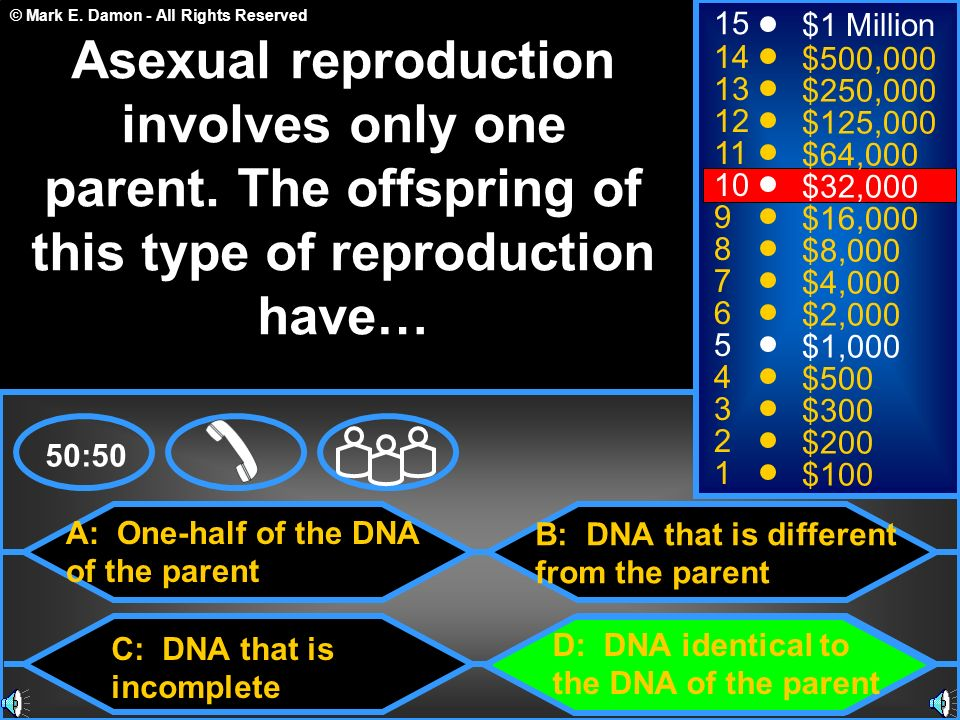 © Mark E. Damon - All Rights Reserved A: One-half of the DNA of the parent C: DNA that is incomplete B: DNA that is different from the parent D: DNA i