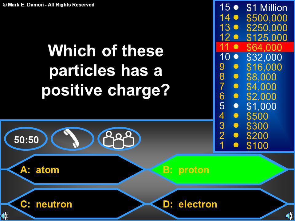 © Mark E. Damon - All Rights Reserved A: atom C: neutron B: proton D: electron 50:50 15 14 13 12 11 10 9 8 7 6 5 4 3 2 1 $1 Million $500,000 $250,000