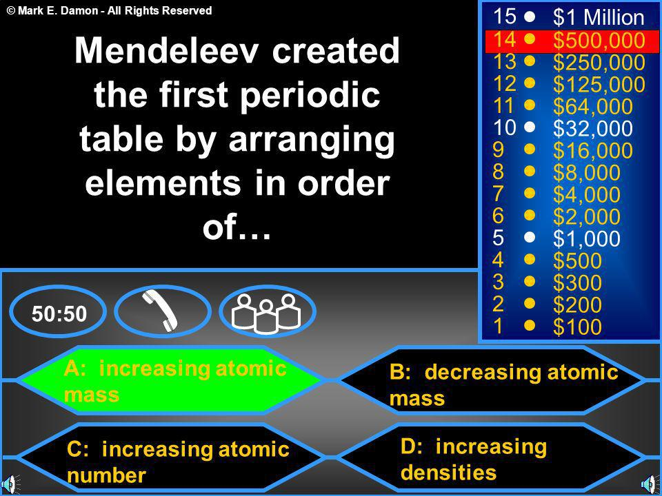 © Mark E. Damon - All Rights Reserved A: increasing atomic mass C: increasing atomic number B: decreasing atomic mass D: increasing densities 50:50 15