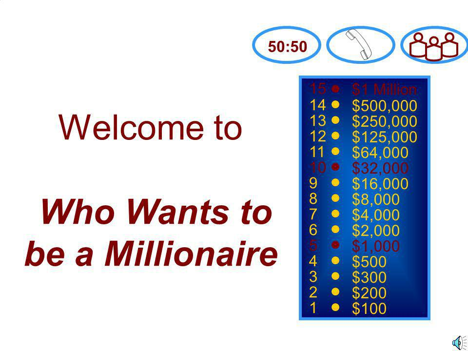 15 14 13 12 11 10 9 8 7 6 5 4 3 2 1 $1 Million $500,000 $250,000 $125,000 $64,000 $32,000 $16,000 $8,000 $4,000 $2,000 $1,000 $500 $300 $200 $100 Welcome to Who Wants to be a Millionaire 50:50