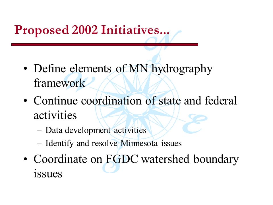 Proposed 2002 Initiatives...