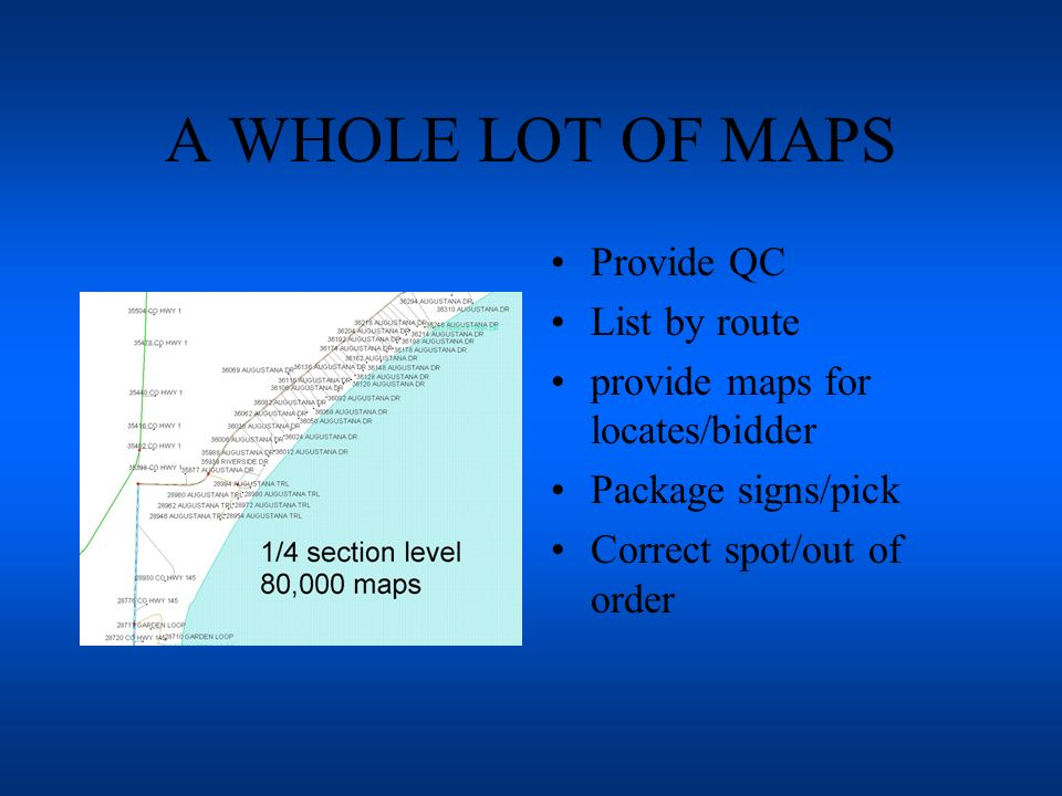 A WHOLE LOT OF MAPS Provide QC List by route provide maps for locates/bidder Package signs/pick Correct spot/out of order