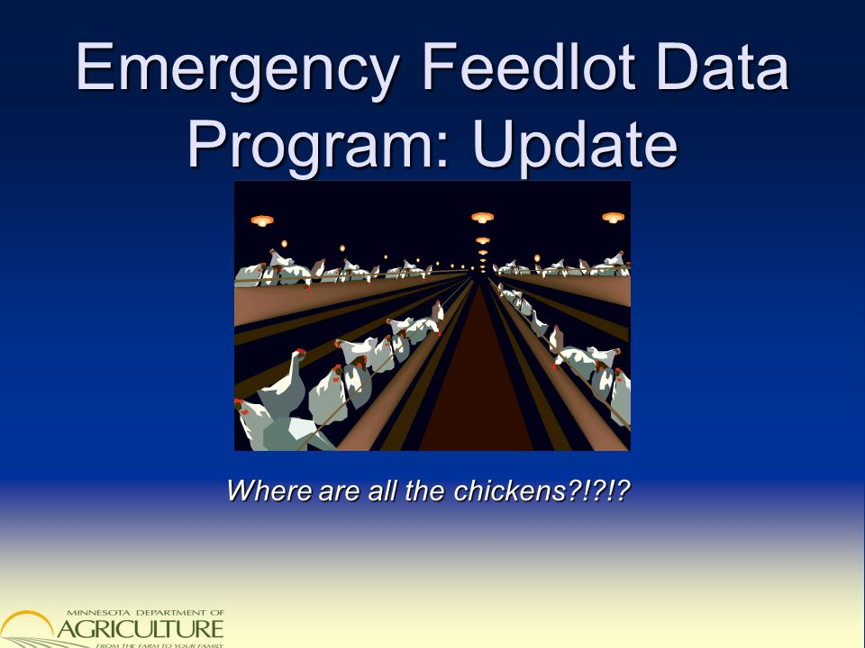 Emergency Feedlot Data Program: Update Where are all the chickens ! !