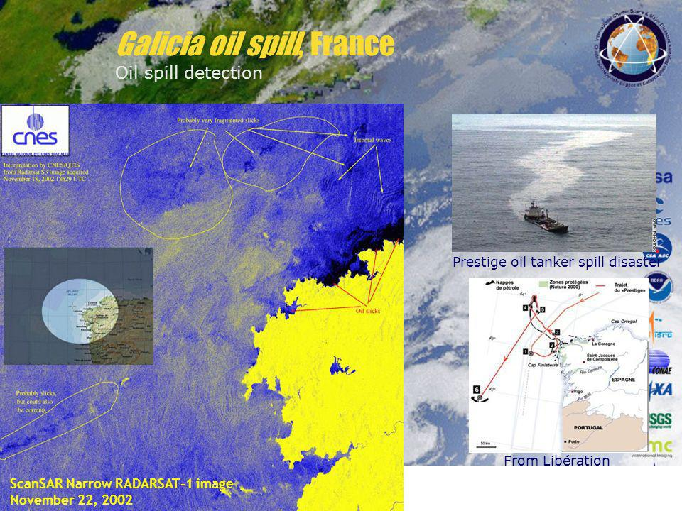 ScanSAR Narrow RADARSAT-1 image November 22, 2002 Prestige oil tanker spill disaster From Libération Galicia oil spill, France Oil spill detection