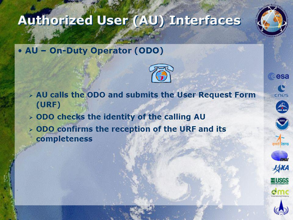 Authorized User (AU) Interfaces AU – On-Duty Operator (ODO) AU calls the ODO and submits the User Request Form (URF) ODO checks the identity of the calling AU ODO confirms the reception of the URF and its completeness