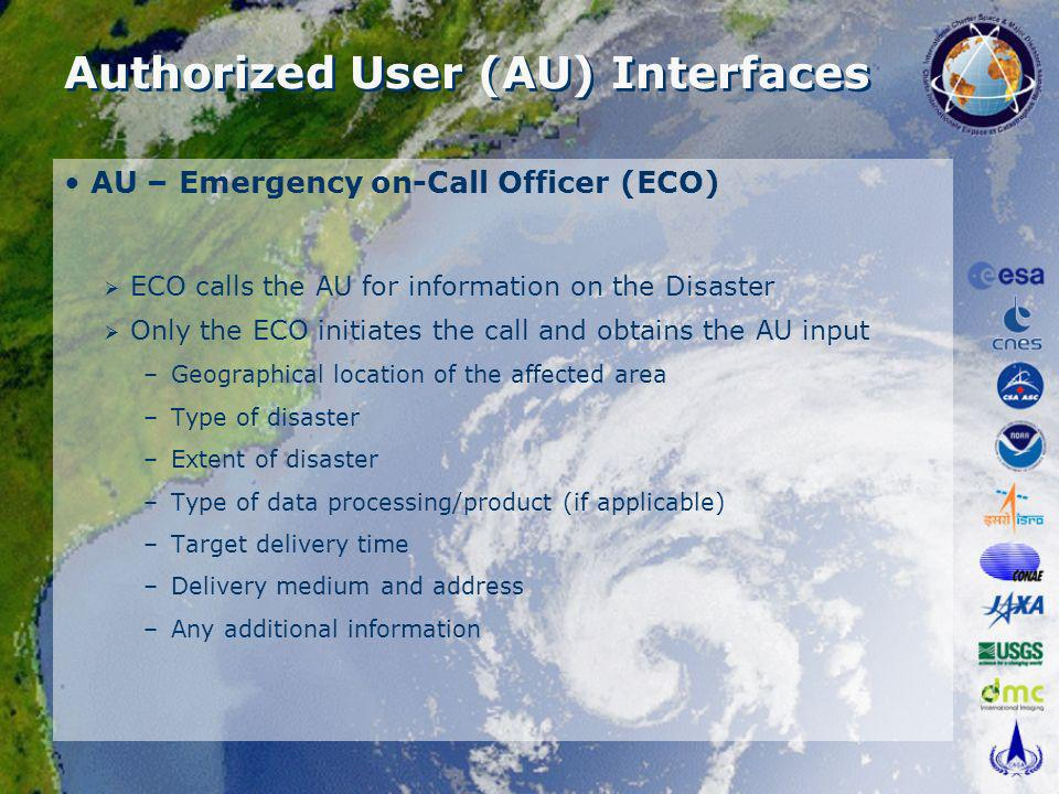 Authorized User (AU) Interfaces AU – Emergency on-Call Officer (ECO) ECO calls the AU for information on the Disaster Only the ECO initiates the call and obtains the AU input –Geographical location of the affected area –Type of disaster –Extent of disaster –Type of data processing/product (if applicable) –Target delivery time –Delivery medium and address –Any additional information