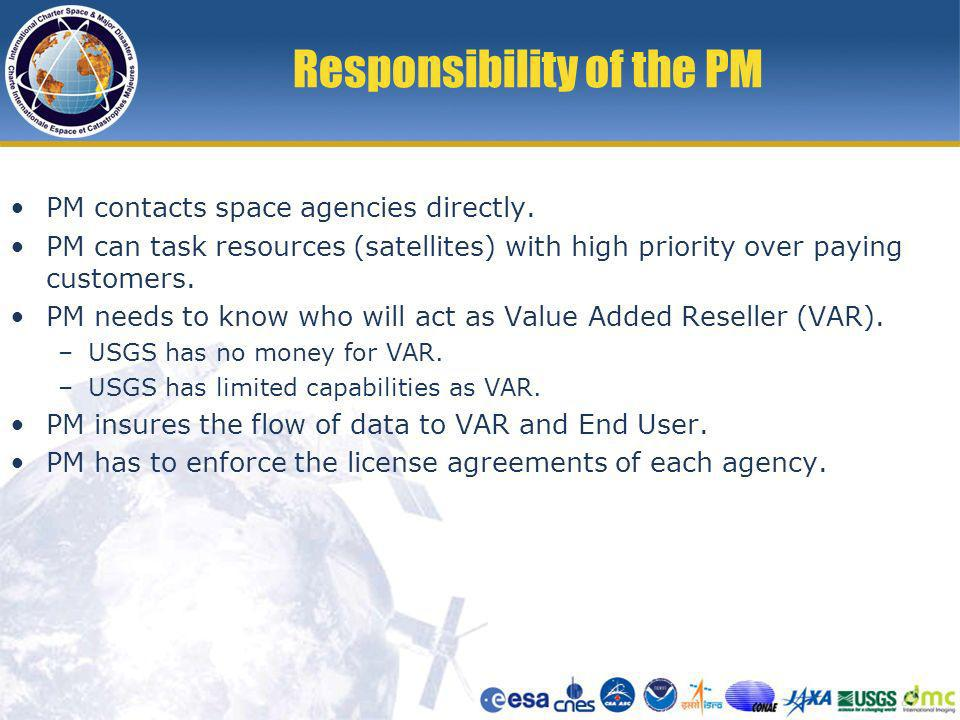 Responsibility of the PM PM contacts space agencies directly.