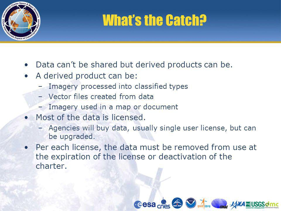 Whats the Catch. Data cant be shared but derived products can be.
