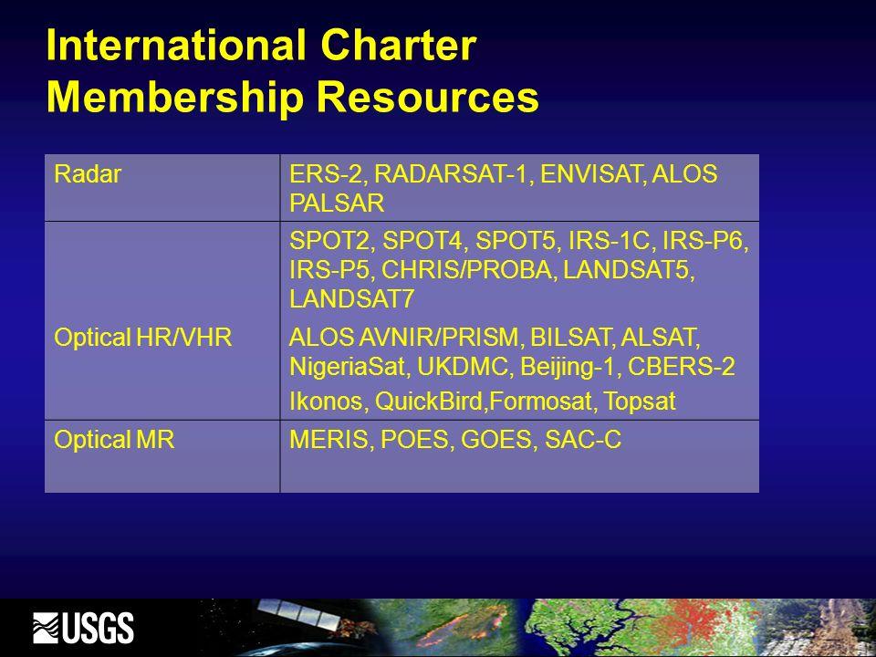 International Charter Membership Resources RadarERS-2, RADARSAT-1, ENVISAT, ALOS PALSAR SPOT2, SPOT4, SPOT5, IRS-1C, IRS-P6, IRS-P5, CHRIS/PROBA, LANDSAT5, LANDSAT7 Optical HR/VHRALOS AVNIR/PRISM, BILSAT, ALSAT, NigeriaSat, UKDMC, Beijing-1, CBERS-2 Ikonos, QuickBird,Formosat, Topsat Optical MRMERIS, POES, GOES, SAC-C